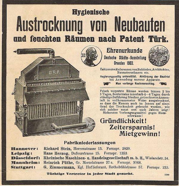 Bautrocknung Jahr 1906 - Austrocknung von Neubauten